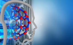 3d molecular structure. 3d illustration of molecular structure over blue background with gears Stock Photos