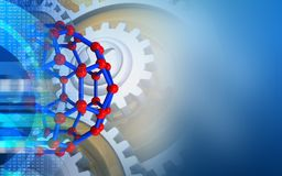 3d molecular structure. 3d illustration of molecular structure over blue background with gears Royalty Free Stock Image