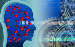 3d head profile. 3d illustration of molecular structure over cyber background with gears system Stock Photos