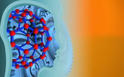 3d blank. 3d illustration of molecular structure over orange background with blue gears royalty free illustration