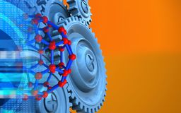 3d blue gears. 3d illustration of molecular structure over orange background with blue gears vector illustration