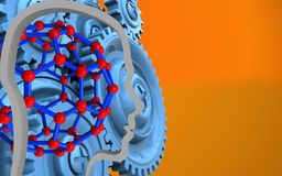 3d head contour. 3d illustration of molecular structure over orange background with blue gears royalty free illustration