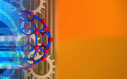 3d gears. 3d illustration of molecular structure over orange background with gears stock illustration