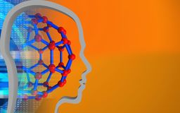 3d blank. 3d illustration of molecular structure over orange background with head contour Stock Photos