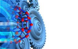 3d blue gears. 3d illustration of molecular structure over white background with blue gears Stock Images