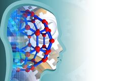3d head profile. 3d illustration of molecular structure over white background with gears Stock Image