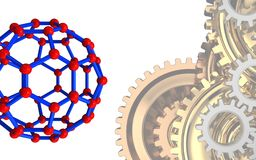 3d molecular structure. 3d illustration of molecular structure over white background with gears system Stock Images