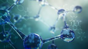 3d illustration of molecule model. Science background with molecules and atoms Royalty Free Stock Photo
