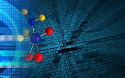 3d molecule. 3d illustration of molecule over binary background with Royalty Free Stock Photo
