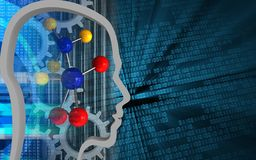 3d head contour. 3d illustration of molecule over binary background with gears Stock Photo