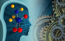 3d blank. 3d illustration of molecule over binary background with gears system Royalty Free Stock Photo