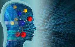 3d head profile. 3d illustration of molecule over binary background with head profile Stock Photos