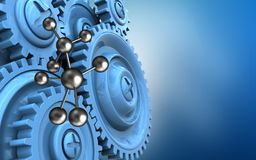 3d blue gears. 3d illustration of molecule over blue background with blue gears vector illustration