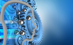 3d blue gears. 3d illustration of molecule over blue background with blue gears royalty free illustration