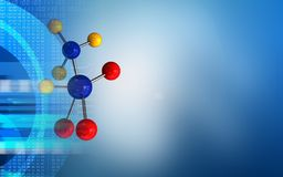 3d blank. 3d illustration of molecule over blue background with Royalty Free Stock Photography