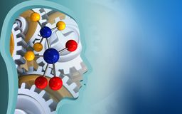3d molecule. 3d illustration of molecule over blue background with gears Stock Image