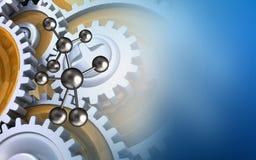 3d molecule. 3d illustration of molecule over blue background with gears vector illustration