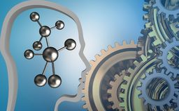 3d head contour. 3d illustration of molecule over blue background with gears system vector illustration