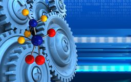 3d blue gears. 3d illustration of molecule over cyber background with blue gears Royalty Free Stock Photo