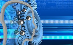 3d molecule. 3d illustration of molecule over cyber background with blue gears Royalty Free Stock Image
