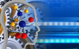 3d gears. 3d illustration of molecule over cyber background with gears stock illustration