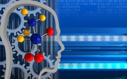3d molecule. 3d illustration of molecule over cyber background with gears Stock Photos