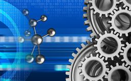 3d blank. 3d illustration of molecule over cyber background with mechanic Stock Images