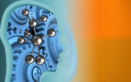 3d blue gears. 3d illustration of molecule over orange background with blue gears royalty free illustration
