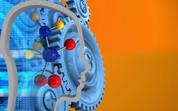 3d head contour. 3d illustration of molecule over orange background with blue gears Royalty Free Stock Image