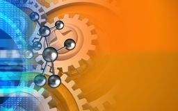3d digital. 3d illustration of molecule over orange background with gears Royalty Free Stock Photography