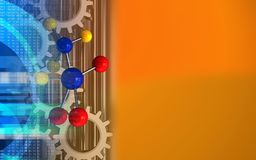 3d digital. 3d illustration of molecule over orange background with gears Stock Photography