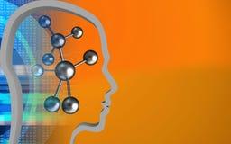 3d molecule. 3d illustration of molecule over orange background with head contour Stock Photos