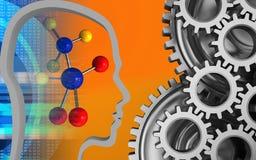 3d digital. 3d illustration of molecule over orange background with mechanic Stock Photography