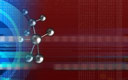 3d blank. 3d illustration of molecule over red background with Stock Image
