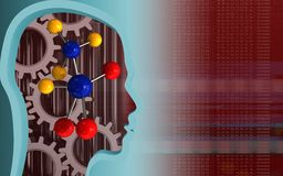 3d head profile. 3d illustration of molecule over red background with gears Stock Photography