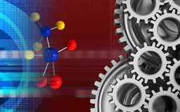 3d digital. 3d illustration of molecule over red background with mechanic Royalty Free Stock Photos