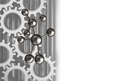 3d gears. 3d illustration of molecule over white background with gears vector illustration