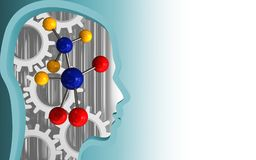 3d head profile. 3d illustration of molecule over white background with gears Royalty Free Stock Photo