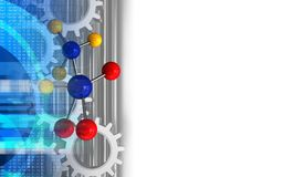 3d molecule. 3d illustration of molecule over white background with gears Stock Images