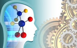 3d molecule. 3d illustration of molecule over white background with gears system Stock Image