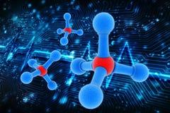 Molecules in digital background. 3d illustration royalty free illustration