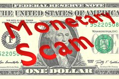 Monetary Scam - criminal concept. 3D illustration of Monetary Scam title on a Dollar bill as a background Stock Photos