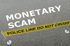 MONETARY SCAM concept. 3D illustration of MONETARY SCAM title on the ground in a police arena Royalty Free Stock Image