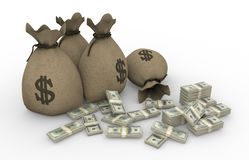 Money sacks with packs of dollars vector illustration