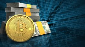 3d of money stack. 3d illustration of money stack over binary background with bitcoin Stock Images