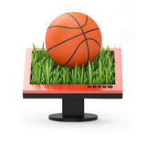 3d illustration: Monitor with a basketball. On a white background Royalty Free Stock Images