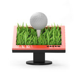3d illustration: Monitor with a golf ball. On a white background Royalty Free Stock Photo