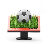 3d illustration: Monitor with a soccer ball Royalty Free Stock Photos