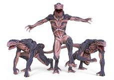 3D Illustration Monsters. 3D Illustration Of A Monsters  on White Royalty Free Stock Photo