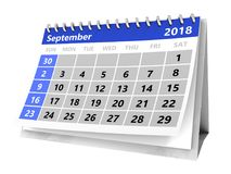 3d calendar. 3d illustration of month calendar over white, 2018 september page Stock Photos